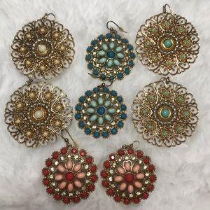 LOT 4 circle hoop dangle earrings gold flower red
